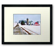 Barn Along a Snowy Road Framed Print