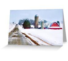 Barn Along a Snowy Road Greeting Card