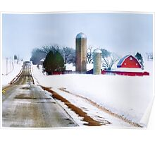 Barn Along a Snowy Road Poster