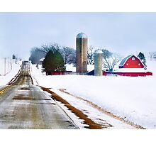Barn Along a Snowy Road Photographic Print