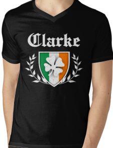 Clarke Family Shamrock Crest (vintage distressed) Mens V-Neck T-Shirt
