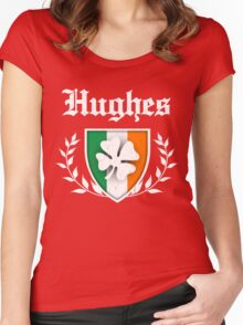 Hughes Family Shamrock Crest (vintage distressed) Women's Fitted Scoop T-Shirt
