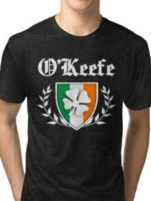 O'Keefe Family Shamrock Crest (vintage distressed) Tri-blend T-Shirt