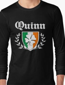 Quinn Family Shamrock Crest (vintage distressed) Long Sleeve T-Shirt