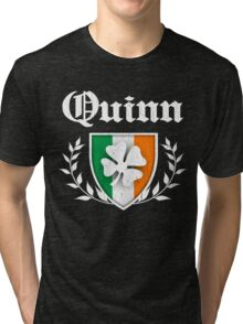 Quinn Family Shamrock Crest (vintage distressed) Tri-blend T-Shirt