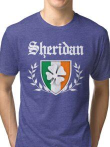 Sheridan Family Shamrock Crest (vintage distressed) Tri-blend T-Shirt