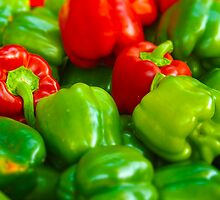 Luscious Green Red Bell Peppers Tilt Shift by THarmonArt