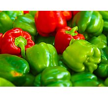 Luscious Green Red Bell Peppers Tilt Shift Photographic Print