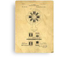 Nikola Tesla Electro Magnetic Motor Patent Canvas Print
