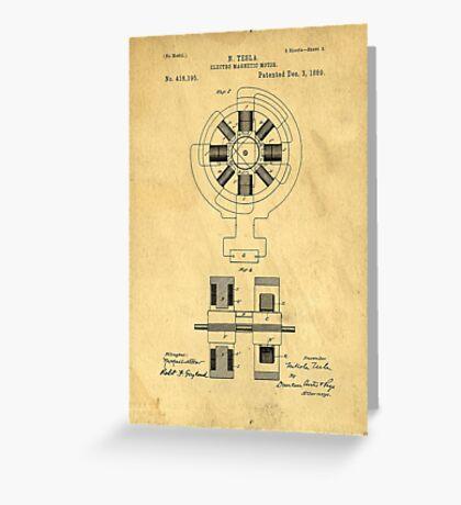 Nikola Tesla Electro Magnetic Motor Patent Greeting Card