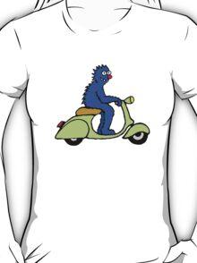 Blue monster on a green scooter T-Shirt