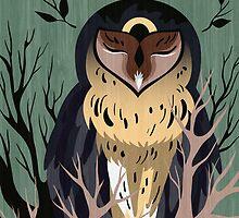 Wooden Owl by Stanislava Korobkova