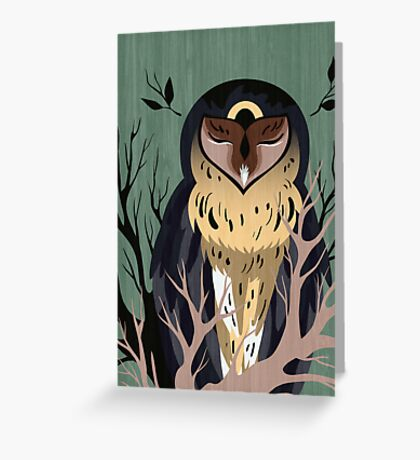 Wooden Owl Greeting Card