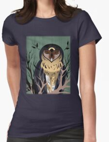 Wooden Owl Womens Fitted T-Shirt