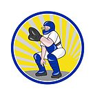 Baseball Catcher Catching Side Circle by patrimonio