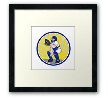 Baseball Catcher Catching Side Circle Framed Print