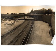Railroad Tracks Tilt Shift Sepia Photograph Kansas City Poster