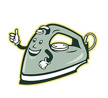 Electric Iron Mascot Thumbs Up Cartoon by patrimonio