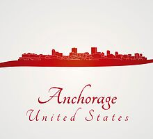 Anchorage skyline in red by Pablo Romero