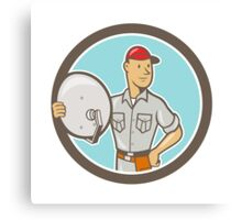 Cable TV Installer Guy Cartoon Canvas Print