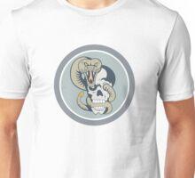 Rattle Snake Curling Around Skull Cartoon Unisex T-Shirt