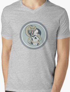 Rattle Snake Curling Around Skull Cartoon Mens V-Neck T-Shirt