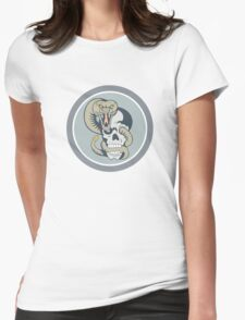 Rattle Snake Curling Around Skull Cartoon Womens Fitted T-Shirt