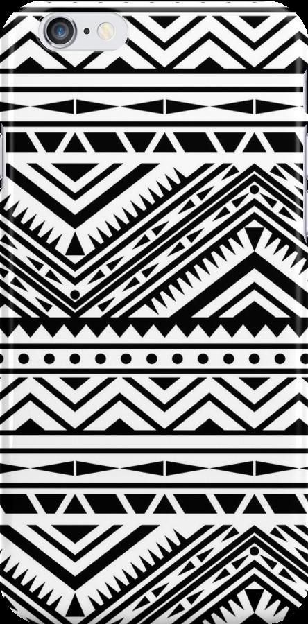 Aztec Design - Black & White by Abbideane