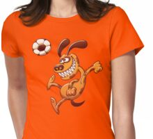 Brave dog heading a soccer ball Womens Fitted T-Shirt