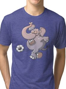 Cool elephant executing a stunt with a soccer ball  Tri-blend T-Shirt
