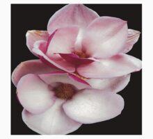 tulip magnolia twins (black bg square) T-Shirt