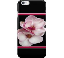 tulip magnolia twins (black bg square) iPhone Case/Skin