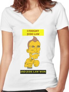 I Fought Jude Law And Jude Law Won (White Background) Women's Fitted V-Neck T-Shirt