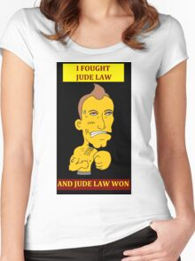 I Fought Jude Law And Jude Law Won (Black Background) Women's Fitted Scoop T-Shirt