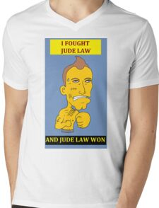 I Fought Jude Law And Jude Law Won (Lilac Background) Mens V-Neck T-Shirt
