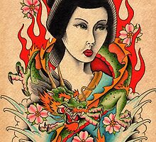 Geisha and Dragon by MikeFrench