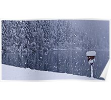 Heavy snowfall at the lake Poster