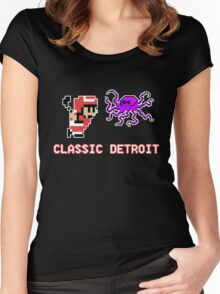 Classic Detroit - 8 Bit - Go Wings! Women's Fitted Scoop T-Shirt