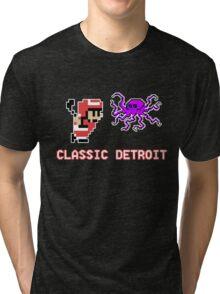 Classic Detroit - 8 Bit - Go Wings! Tri-blend T-Shirt
