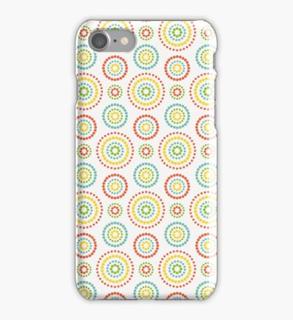 Colorful dots circles pattern on white background iPhone Case/Skin