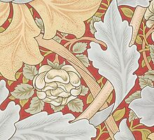 Acanthus Leaves, Wild Rose on Crimson Background by Bridgeman Art Library