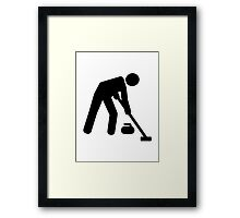 Curling sports player Framed Print