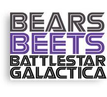 Bears, Beets, Battlestar Galactica. Canvas Print