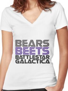 Bears, Beets, Battlestar Galactica. Women's Fitted V-Neck T-Shirt