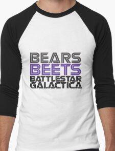 Bears, Beets, Battlestar Galactica. Men's Baseball ¾ T-Shirt