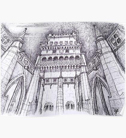 Claustro da Torre de Belém. cloister view to the tower. Lisbon Poster