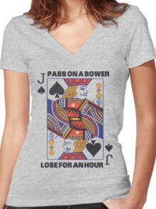 Euchre - Pass On A Bower - Lose For An Hour! Women's Fitted V-Neck T-Shirt