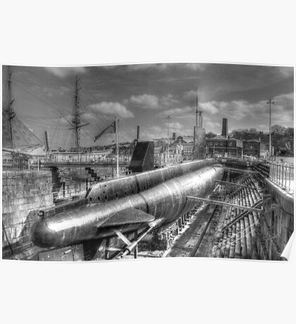 HMS Ocelot O class submarine at Chatham Naval Dockyard Poster
