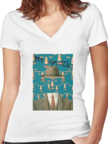 Tribute to MAGRITTE Women's Fitted V-Neck T-Shirt