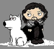 Stewie Griffin Jon Snow game of thrones poster by EdWoody